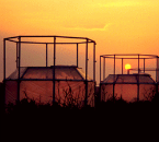 Experimental arrays at sunset measuring carbon dioxide