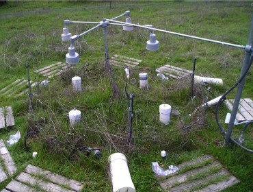 Experimental array for the Jasper Ridge Global Change research project showing heat lamps and measurement equipment