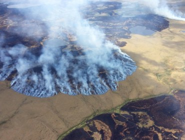 Aerial view of Alaska burning.
