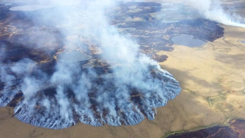 Aerial view of Alaska burning.