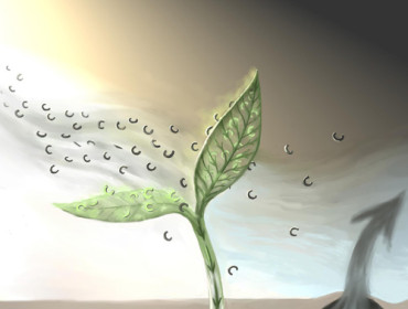 Artist's rendering of the Carbon locked up inside a plant's roots.