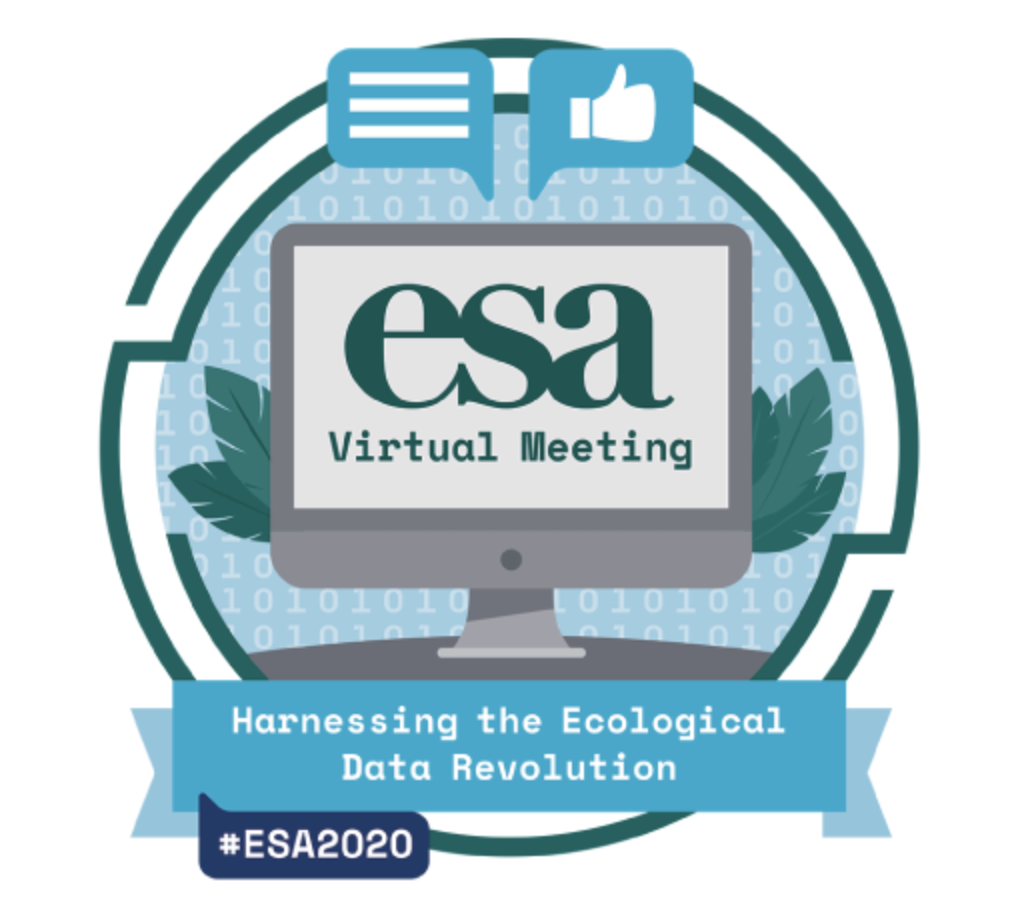 """ESA VirtuaL Meeting Poster. Text reads """"Harnessing the Ecological Data Revolution"""""""